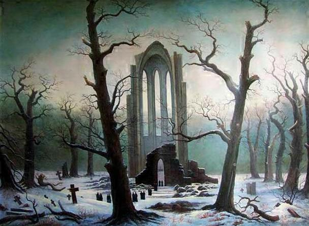 Caspar David Friedrich - Cloister Graveyard in the Snow (1810)