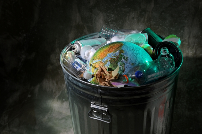 Trash Can with Rubish and Earth