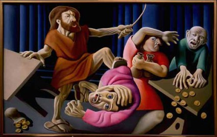 """""""Christ Driving the Money Changers from the Temple"""" by New Zealand artist Michael Smither, 1972 (Victoria University of Wellington Art Collection, New Zealand)"""